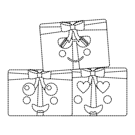 kawaii christmas gift box ornament with bow vector illustration