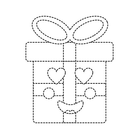 Cute Christmas gift box ornament with bow. Vector illustration sticker image. Illustration