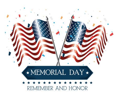 happy memorial day flag vector illustration design Vectores