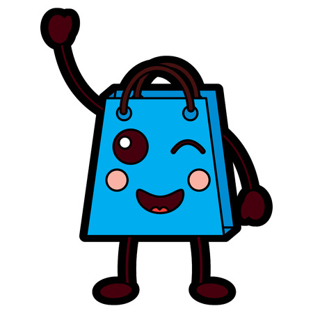 Shopping bag character cute style vector illustration design.