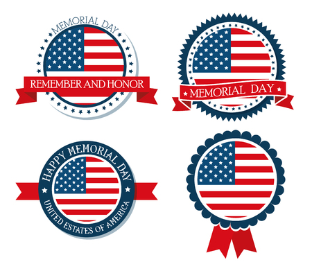 happy memorial day emblem vector illustration design