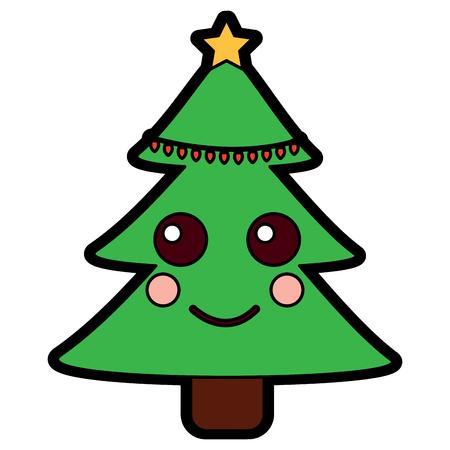 クリスマスツリーかわいい漫画笑顔ベクターイラスト。  イラスト・ベクター素材