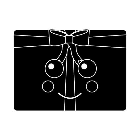 kawaii christmas gift box ornament with bow vector illustration black design