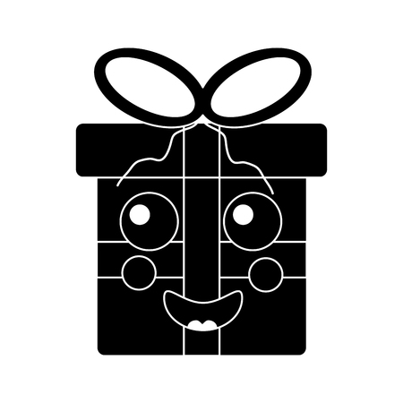 kawaii christmas gift box ornament with bow vector illustration black design