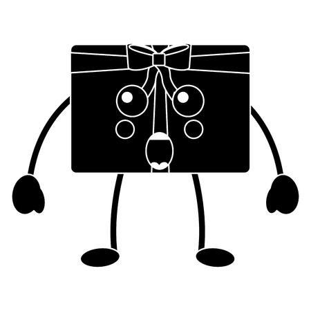 Cartoon christmas gift box ornament with bow vector illustration black design Illustration