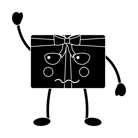 Black sad christmas gift box character with bow. Illustration