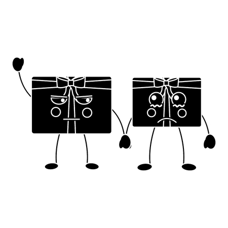 Black christmas gift box characters with bow.