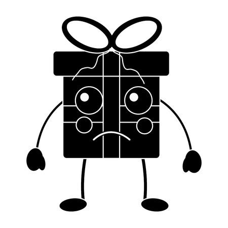 Black sad christmas gift box character with bow. Çizim