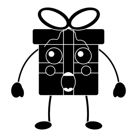 Black shocked christmas gift box character with bow.