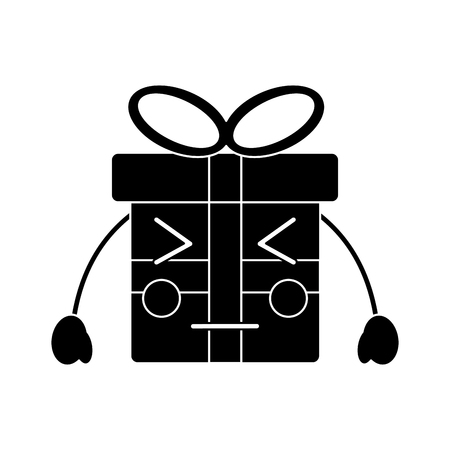 Black christmas gift box character with bow.