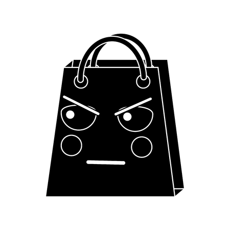 A black angry shopping bag character icon. Illustration