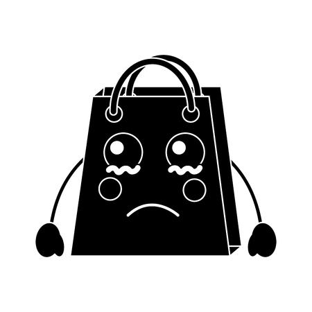 A crying black shopping bag character icon.