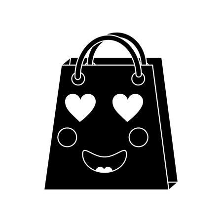 An in love black shopping bag character icon. Illustration