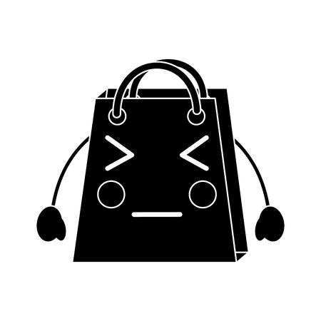 A cute black shopping bag character icon. Illustration