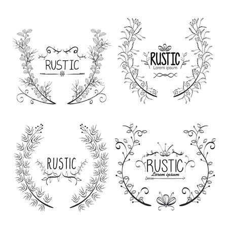rustic set wreaths icons vector illustration design