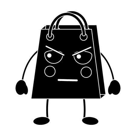 shopping bag angry emoji icon image vector illustration design   black and white
