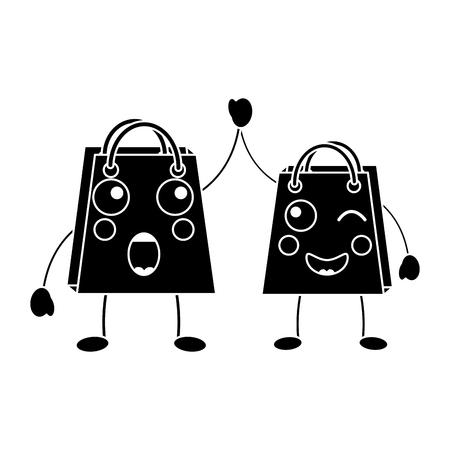 shopping bag emoji icon image vector illustration design  black line black and white