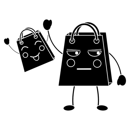 shopping bag emoji icon image vector illustration design  black line black and white