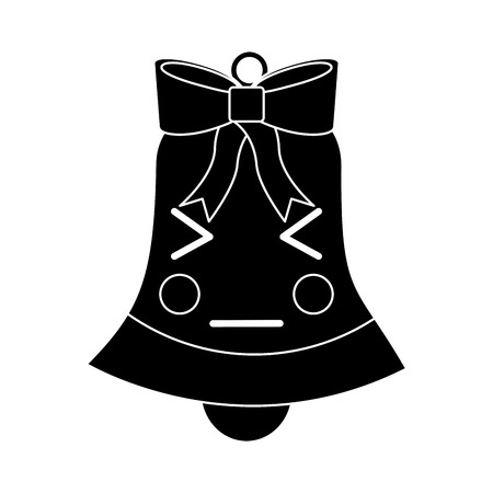christmas bell angry emoji icon image vector illustration design  black and white