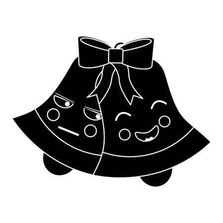 christmas bells emoji icon image vector illustration design  black and white Stock Vector - 95855412