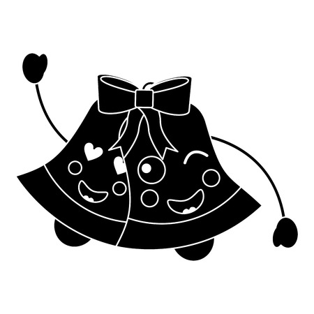 christmas bells emoji icon image vector illustration design  black and white