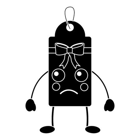 gift or price tag sad emoji icon image vector illustration design   black and white