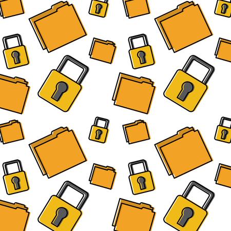 file folder safety lock pattern image vector illustration design
