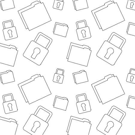 file folder safety lock pattern image vector illustration design  black dotted line