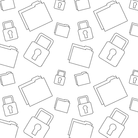 file folder safety lock pattern image vector illustration design  black dotted line