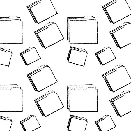 file folder pattern image vector illustration design  black sketch line