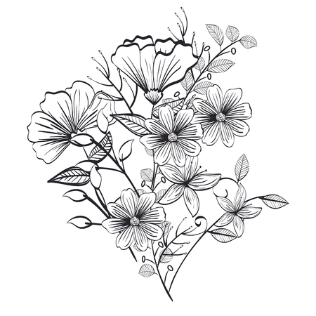 monochrome and rustic decoration floral vector illustration design  イラスト・ベクター素材