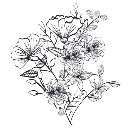 monochrome and rustic decoration floral vector illustration design Vettoriali