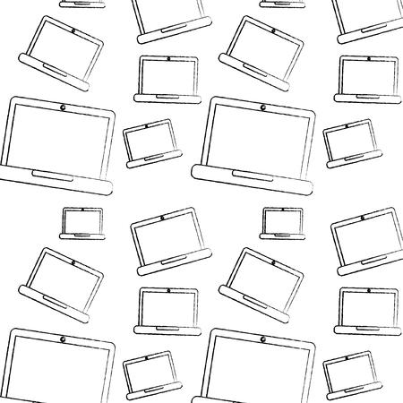 Ordenador portátil patrón imagen vector ilustración diseño negro boceto línea