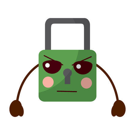 safe secure padlock character vector illustration