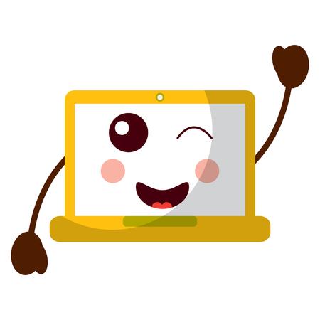 laptop computer kawaii character device vector illustration