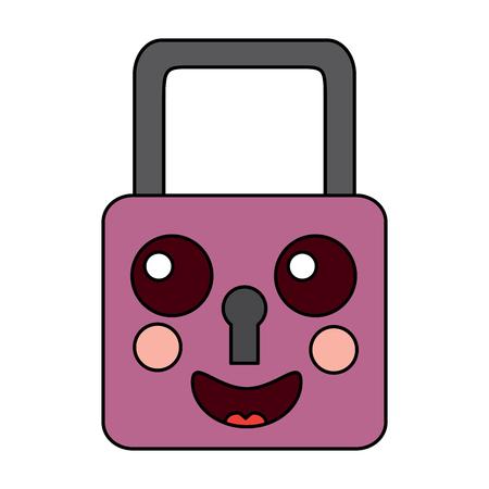 safety lock happy emoji icon image vector illustration design Illustration