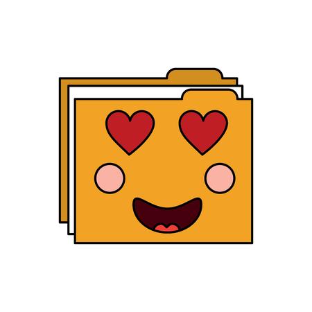 file folder heart eyes emoji icon image vector illustration design