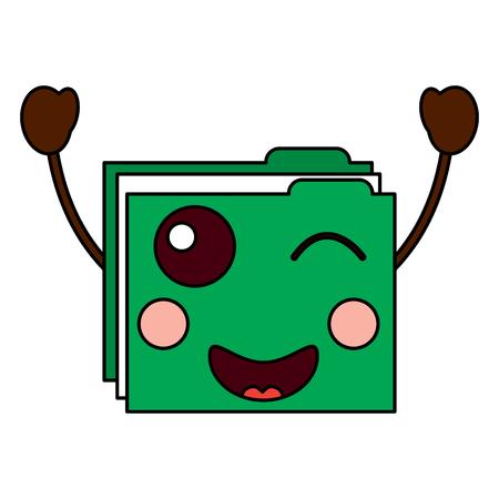 file folder wink  emoji icon image vector illustration design