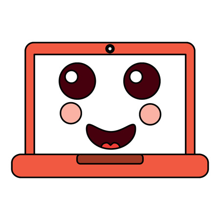 Happy laptop cartoon image