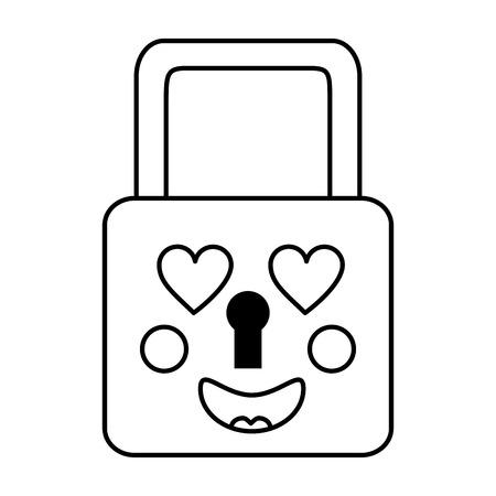 Safety lock heart eyes icon Illustration