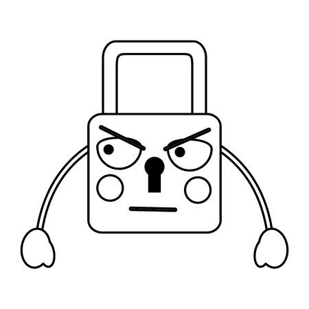 Angry lock icon image illustration