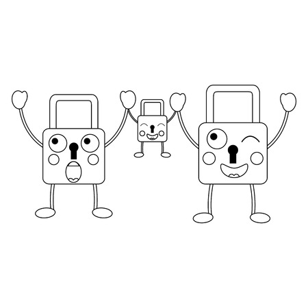 set security padlock kawaii cartoon vector illustration outline image