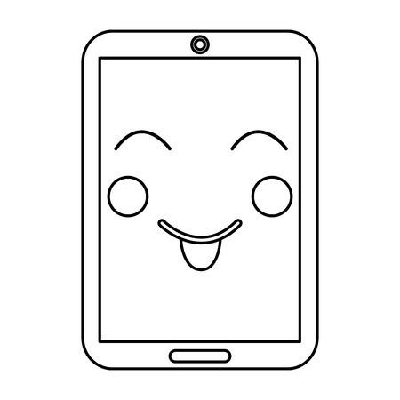 smartphone kawaii phone character cartoon vector illustration outline image Vettoriali