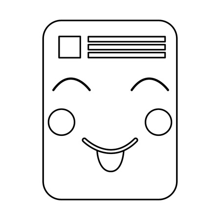 paper document kawaii character note vector ilustration outline image Vectores