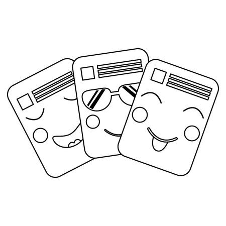 紙文書可愛い文字注記ベクトルイラストレーションアウトライン画像  イラスト・ベクター素材
