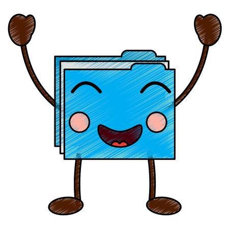 file folder happy  emoji icon image vector illustration design