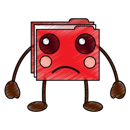 file folder sad emoji icon image vector illustration design