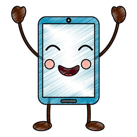 cellphone happy emoji icon image vector illustration design