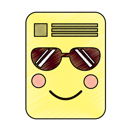 document sunglasses emoji icon image vector illustration design