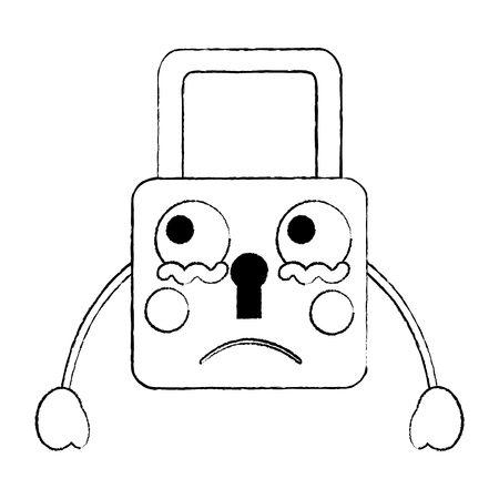 safety lock sad emoji icon image vector illustration design  black sketch line